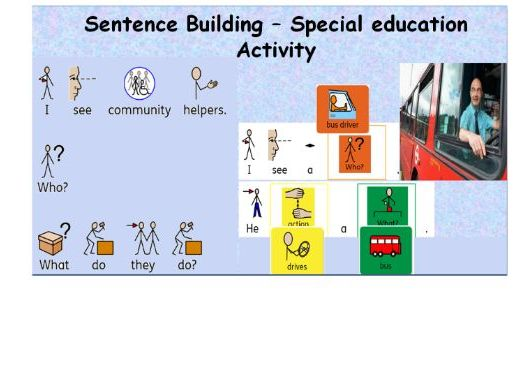 Build A Sentence with Pictures-  Interactive- community helpers