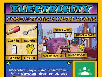 Electrical conductors & insulators: Google Slides, Distance Learning + Worksheet