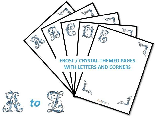 Frost / Crystal - themed pages with letters and corners