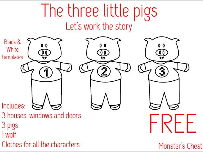 The three little pigs. Templates to work the story