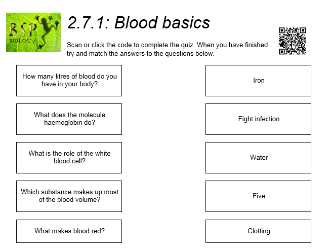AQA GCSE Biology: Trilogy. Lesson 20 Blood