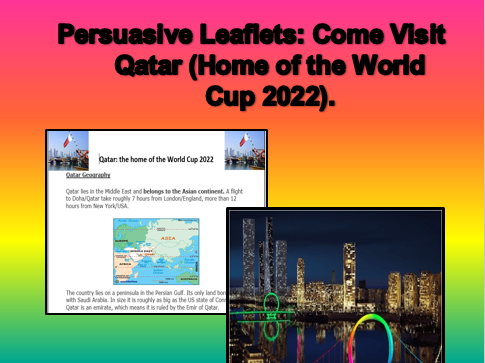 Persuasive Leaflets: Come to Qatar (Home of the World Cup 2022).