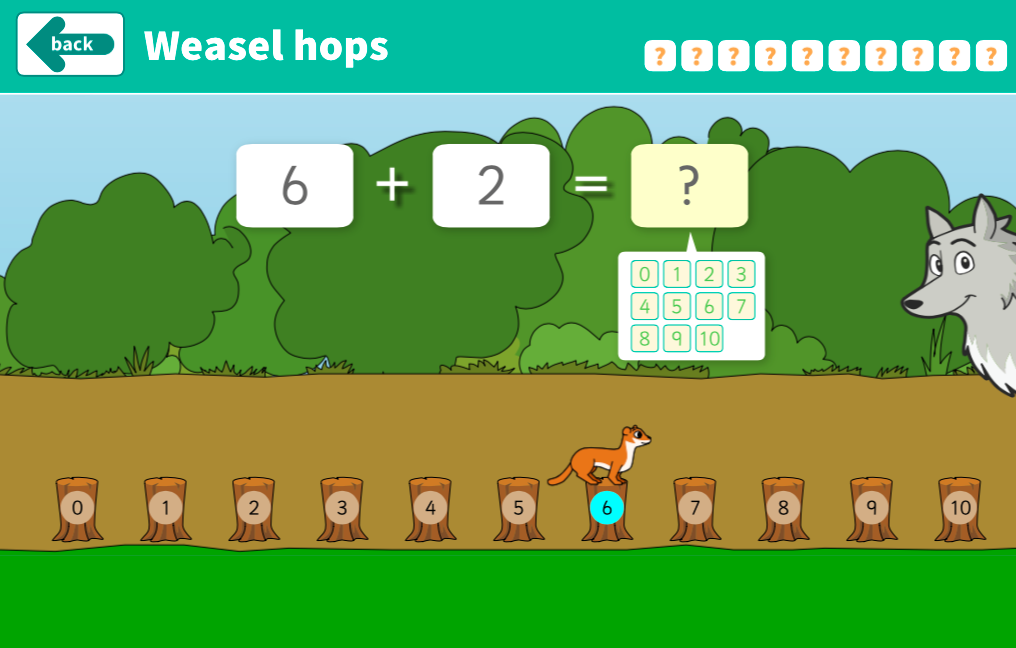 Addition to 10 - Weasel Hops Interactive Game - KS1 Number