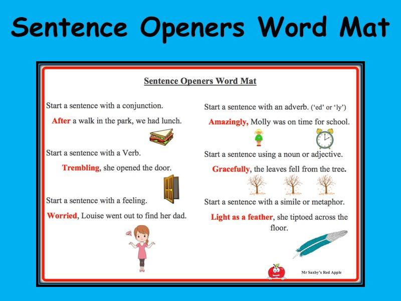 Sentence Opener Word Mat