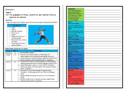 GCSE PE - Edexcel (9-1) - Structure Strip - Components of Fitness 1 (Extended Question)