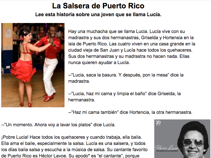 Cultural Salsa Reading and Comprehension Questions