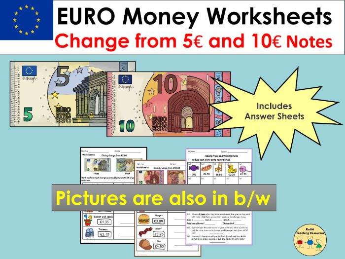 Euros and Cents Money Worksheets Giving Change and Word Problems
