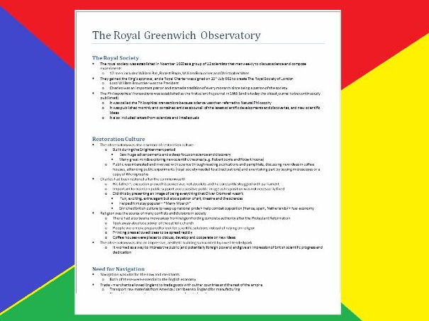 4 pages - Royal Observatory Detailed Guide - Historical Environment