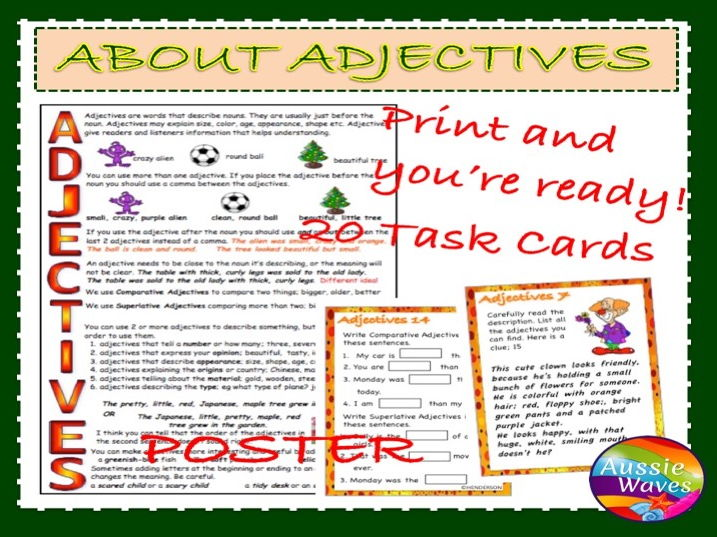 Teaching Parts of Speech ADJECTIVES Task Cards and Poster