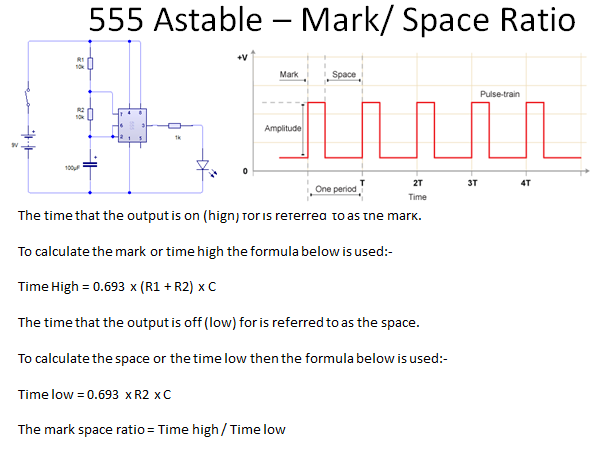 555 Timer Calculations - Electronic Products Astable, Monostable, Mark : Space ratio