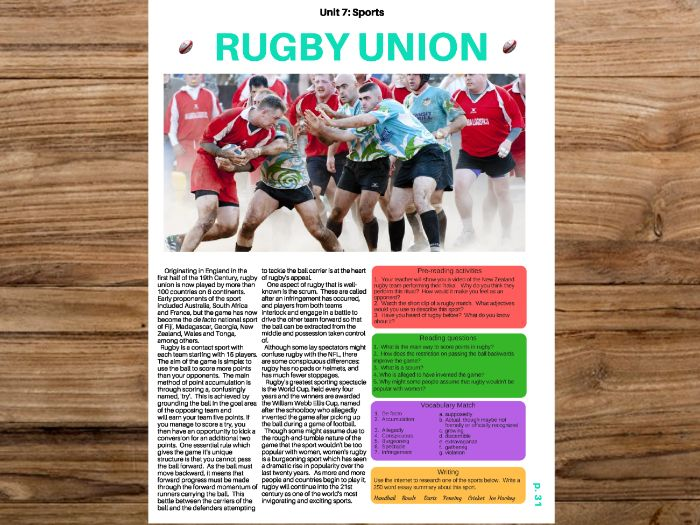 Rugby - English & ESL Reading w/ FULL lesson plan. No Prep!! :)