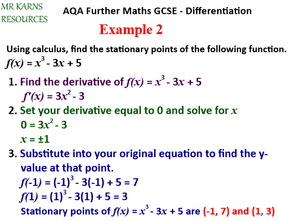 Second Derivatives / Minimums, Maximums and Points of Inflection (Further Maths GCSE / A-Level)