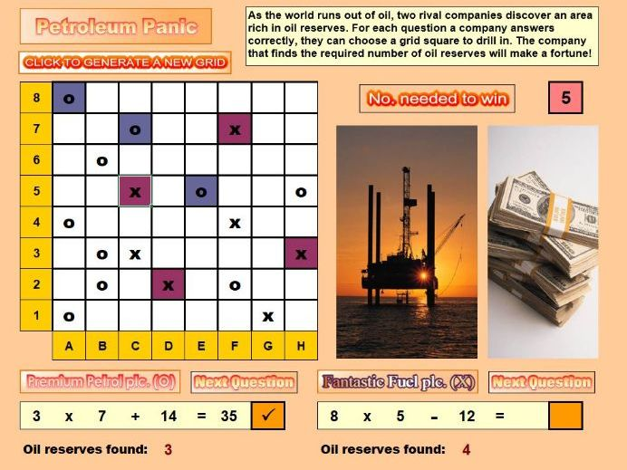 Petroleum Panic Number Activity and Game