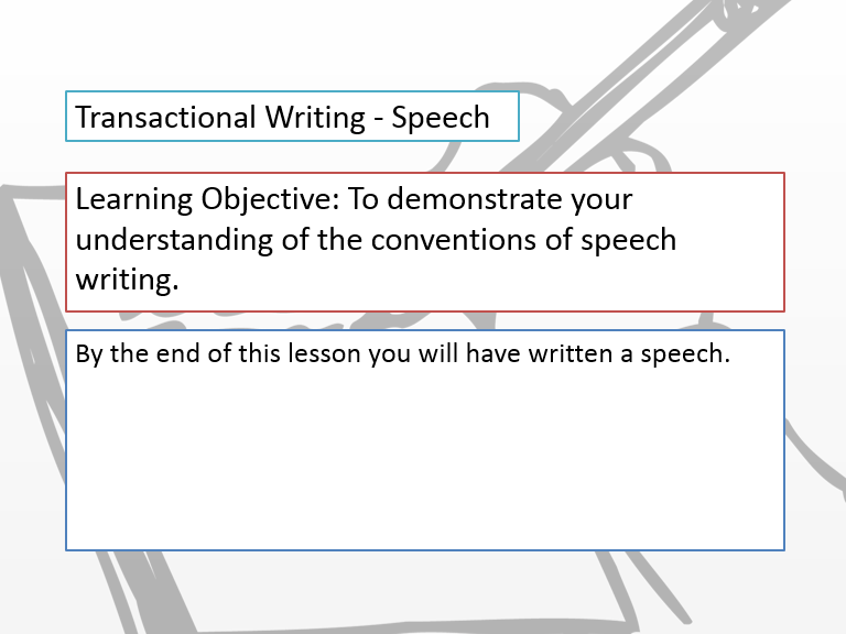 Transactional writing: Speeches Bundle