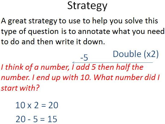 Year 6 Inverse - I think of a number problems - 4 levels of differentiation