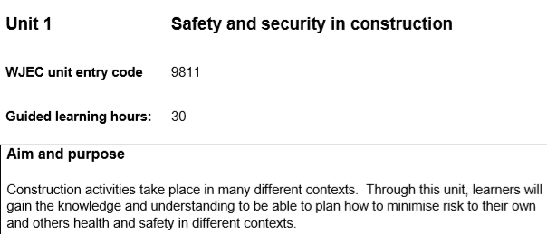 WJEC Constructing the Built Environment Unit 1: Safety and Security in Consruction