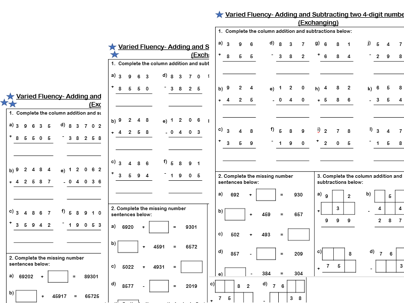 White Rose Maths - Year 4 - Addition and Subtraction of two 4-digit numbers (Exchanging)
