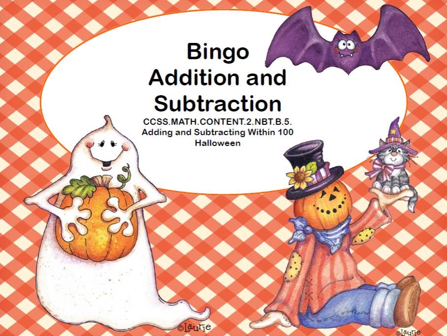 Addition and Subtraction within 100- Bingo-Halloween