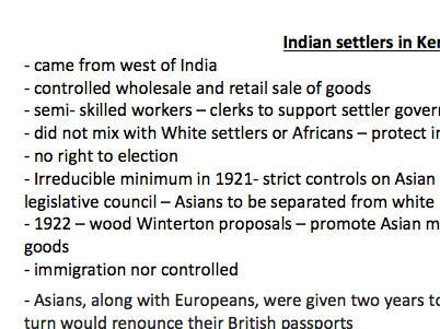 Indian Settlers in Kenya - Notes