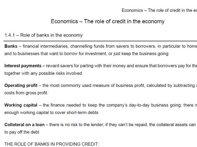 Edexcel Economics B - Theme 1.4 notes