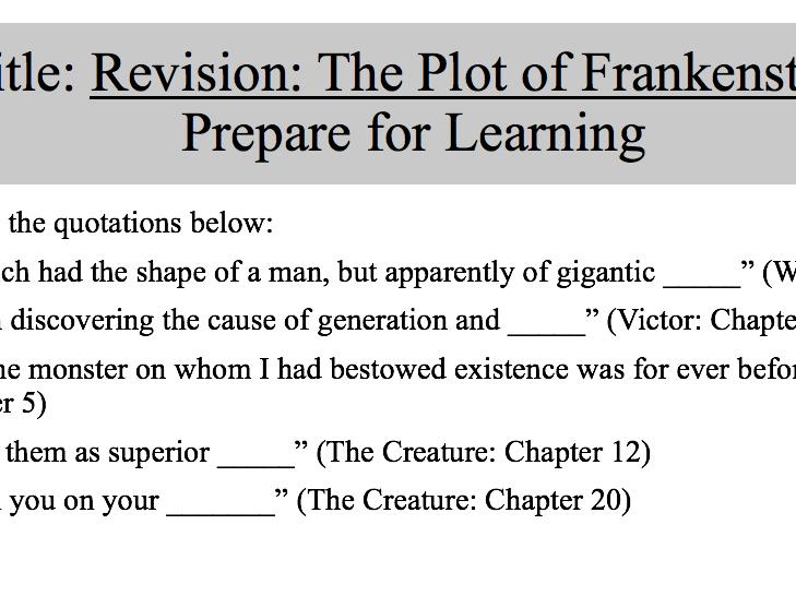 Frankenstein Plot Revision Lesson: AQA English Literature