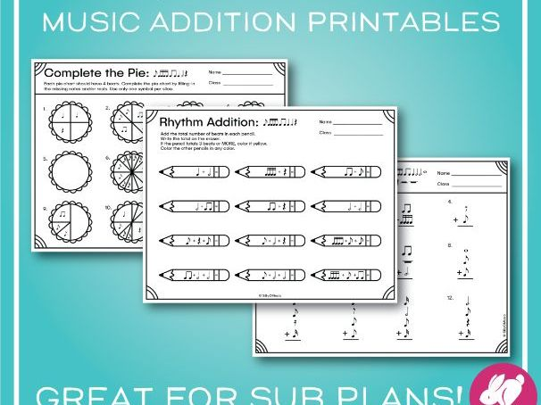 Music Addition Worksheets with Coloring