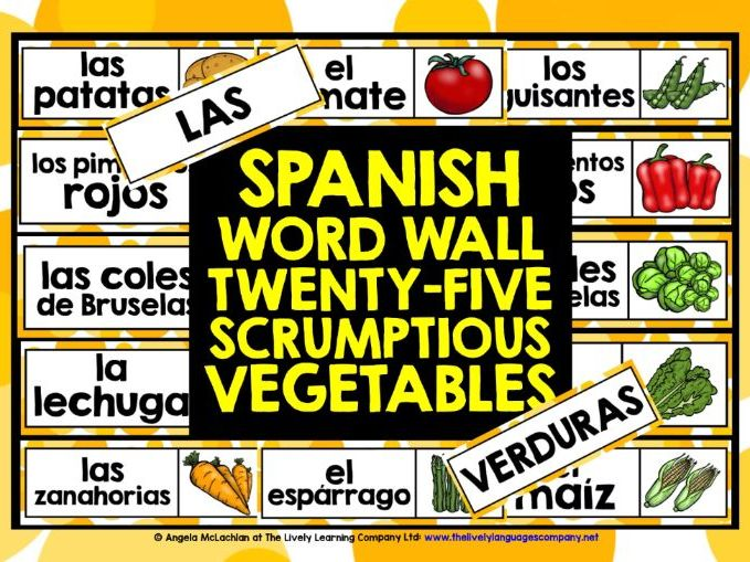 PRIMARY SPANISH VEGETABLES WORD WALL