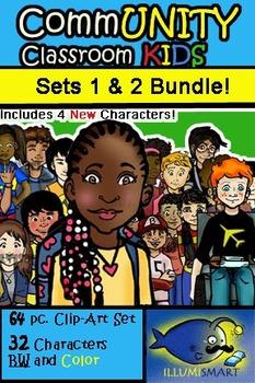 CommUNITY Classroom Kids BUNDLE: Sets 1 & 2 (64 pc. Clip-Art w/ 4 New Kids!)!)
