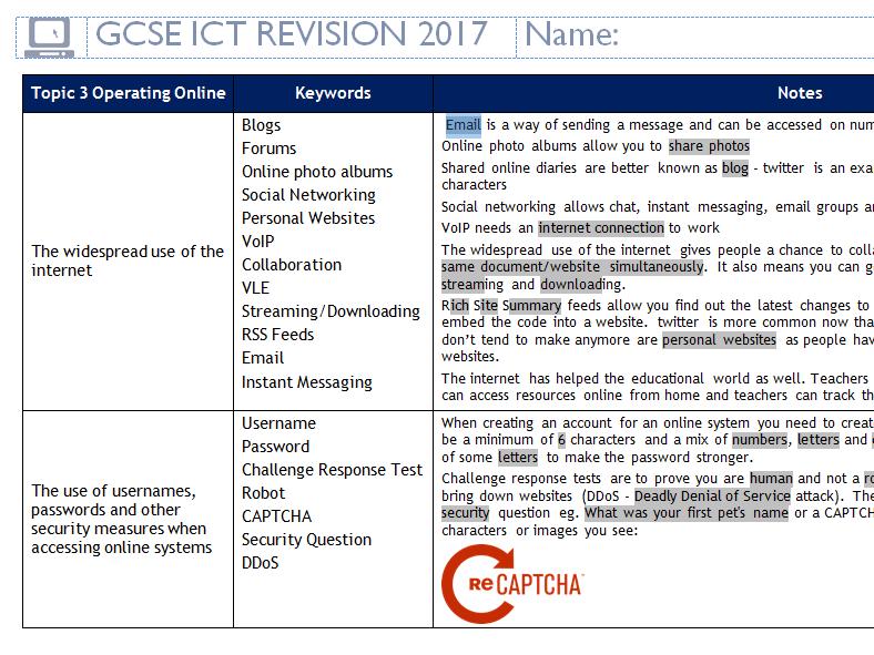Edexcel GCSE ICT Condensed Last Minute Revision - Operating Online