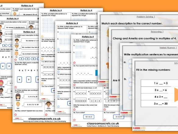 Year 3 Multiply by 4 Autumn Block 3 Step 5 Lesson Pack