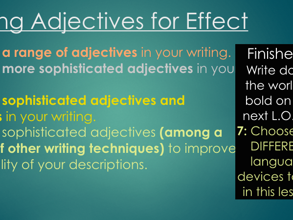 Adjectives and Sentence Types for Effect (Middle-Lower Ability): Two full lessons - AQA A05 and AO6