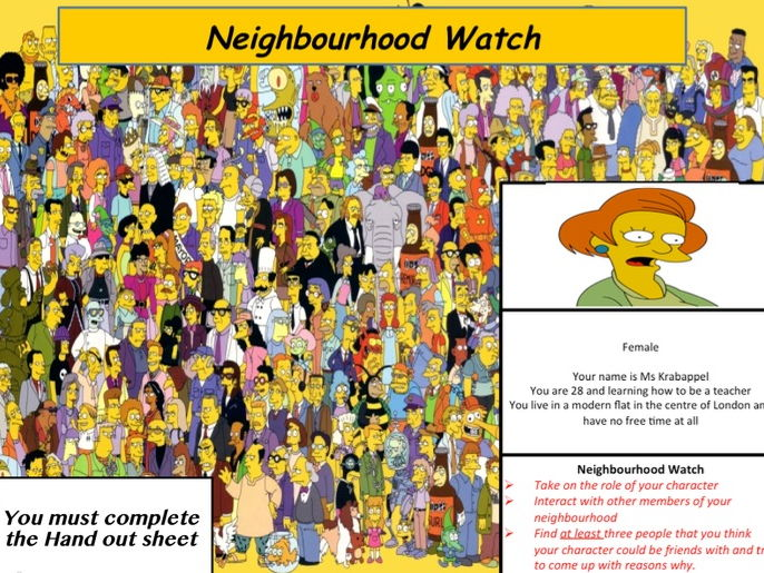 Simpsons - Making friends, Self Esteem and Identity SEAL PSHE CITIZENSHIP