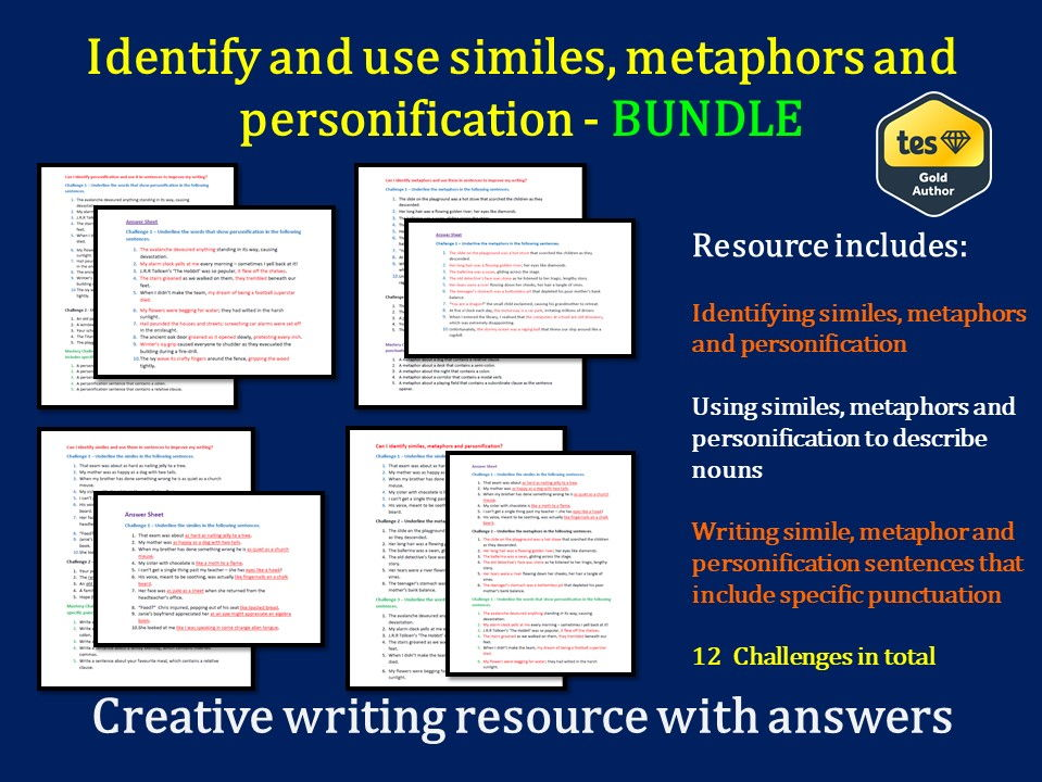 Identify similes, metaphors and personification (with answers) by ...
