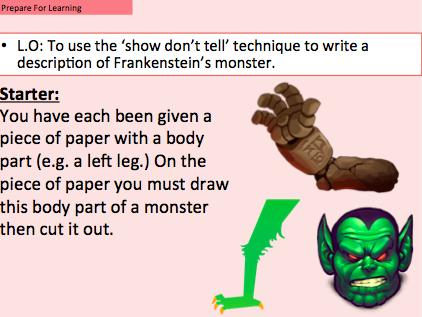 Frankenstein's Monster - Diary Entry plus 'create your own monster' task.