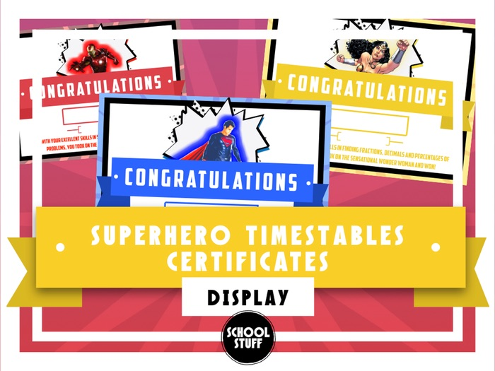 Superhero Times Table Tests Certificates - School Stuff