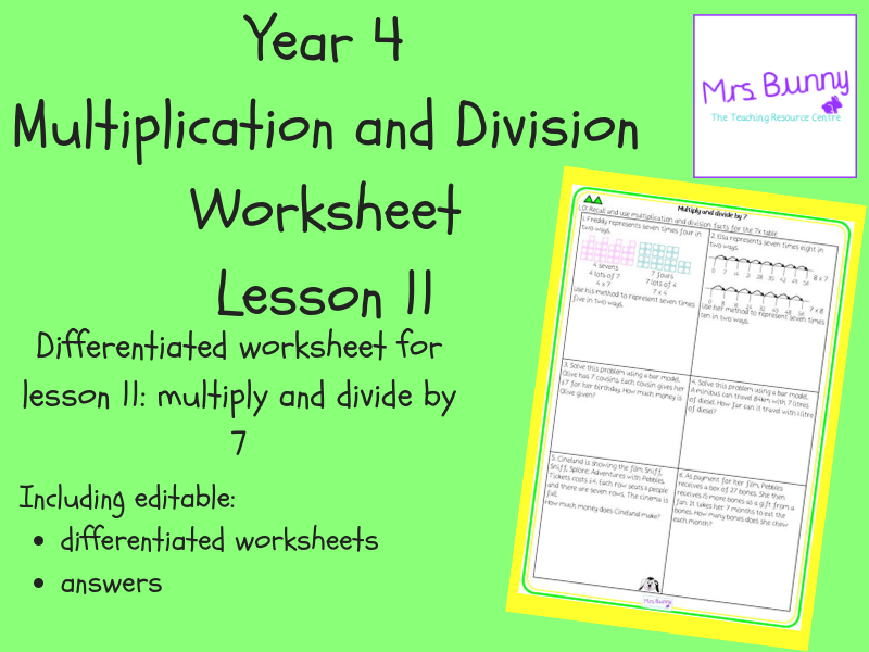 11. Multiplication and Division: multiply and divide by 7 worksheets (Y4)
