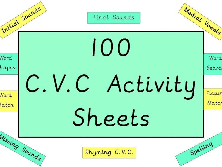 100 CVC Activity Sheets