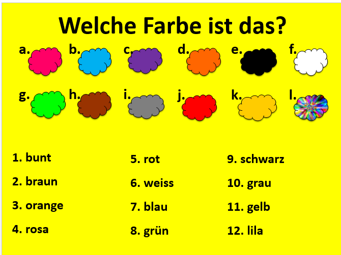 Presentation on German colours for KS2/3 with Quiz Quiz Trade cards