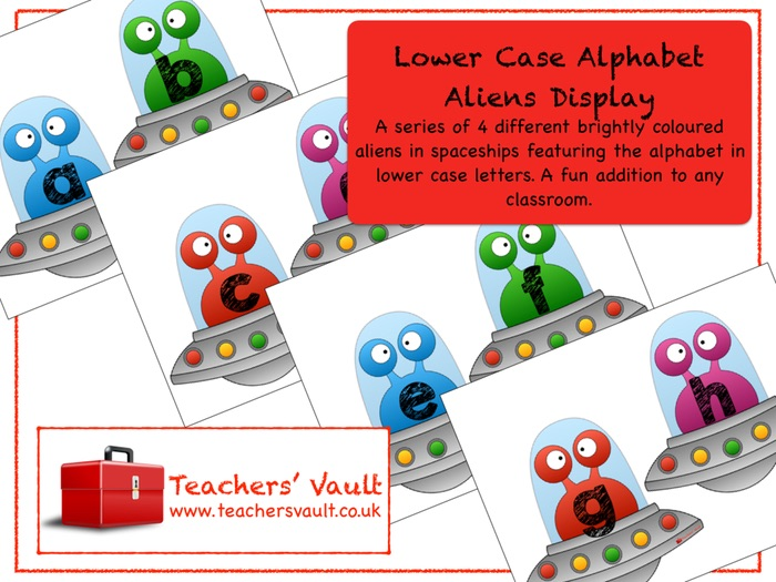 Lower Case Alphabet Aliens Display