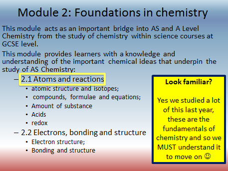 OCR AS/A level Chemistry Module 2 Foundations in Chem PP including practice questions and activities