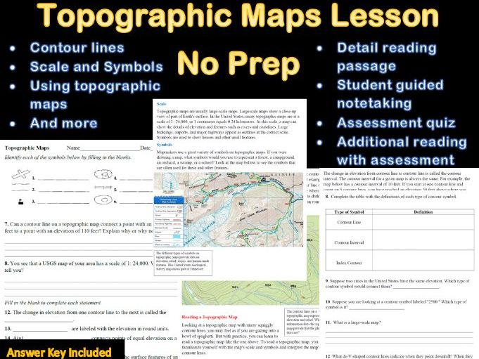 Topographic Maps Prep Lesson With Answer Sheet (Distance Learning)