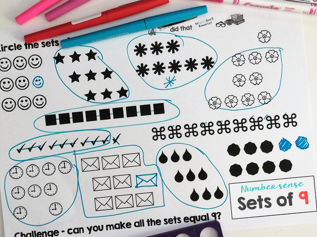 Make sets of 9 for Number sense and Maths mastery