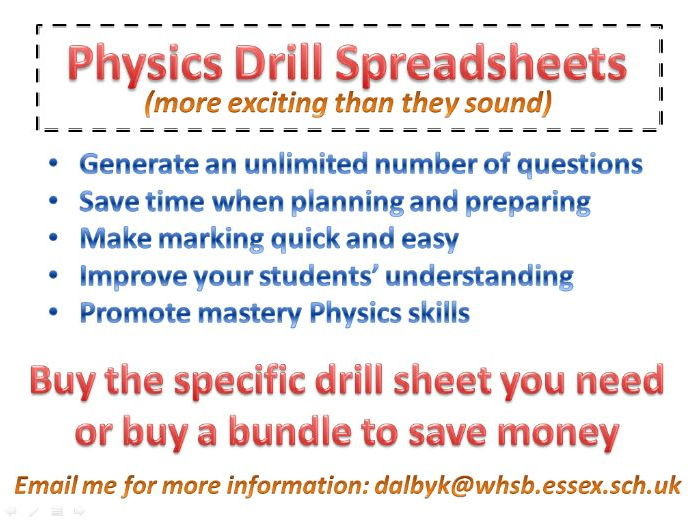 GCSE and A Level Physics Drill Spreadsheet Samples