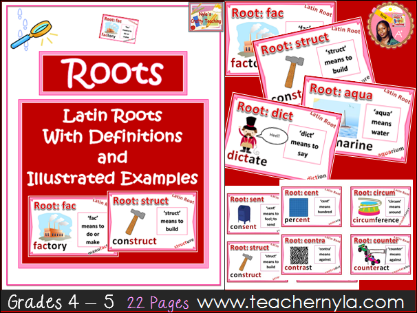 Latin Root Cards - Illustrated Definitions and Examples