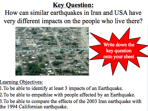 Lesson 4: How can similar earthquakes in Iran and USA have very different impacts on the people
