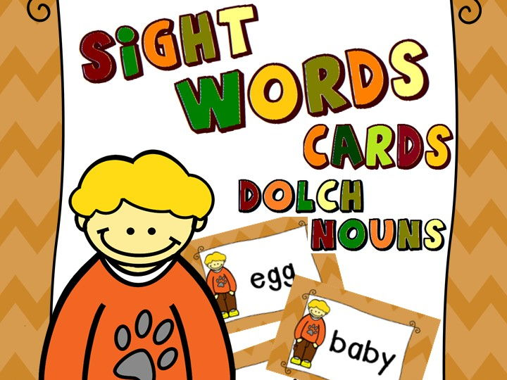 Sight Words Cards - Dolch Nouns, 95 words (Autumn Themed)