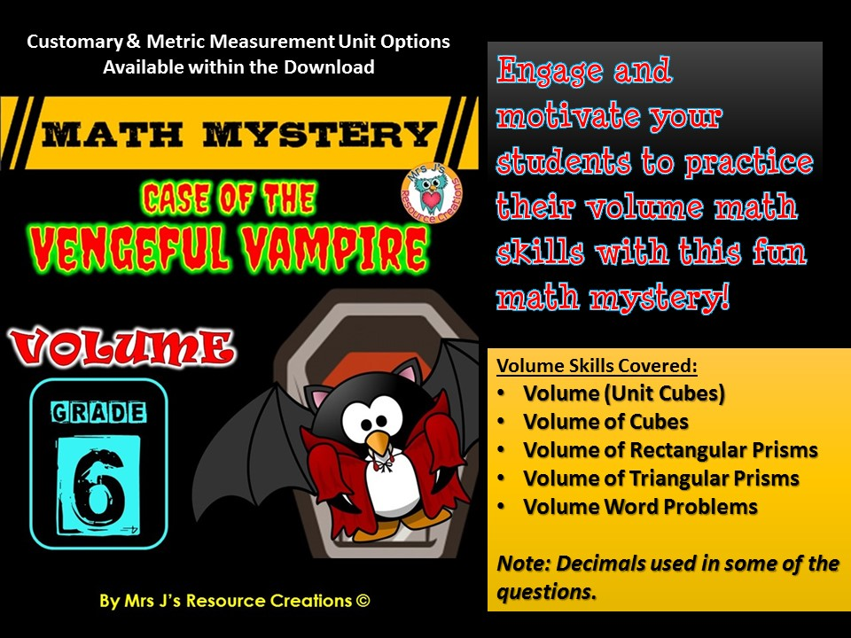 Volume Math Mystery - Case of The Vengeful Vampire (GRADE 6)