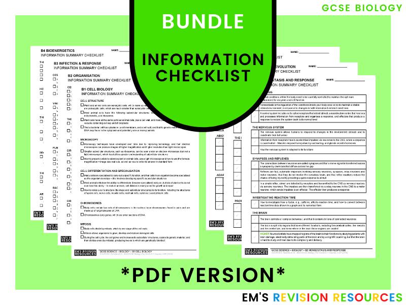 GCSE Biology [Information Checklist] *PDF* (Bundle)