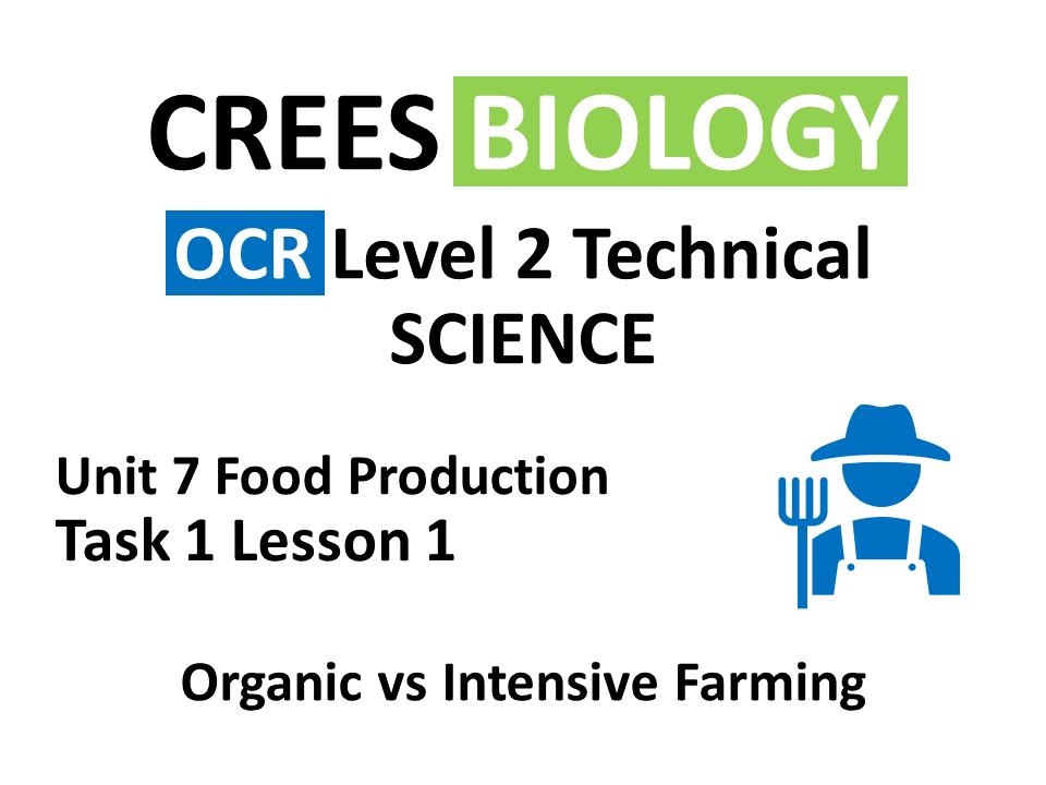 OCR Science 7.1 Lesson 1 Organic vs Intensive Farming