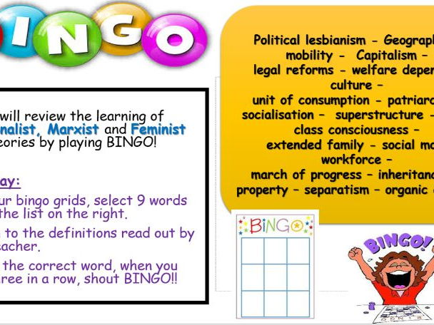 BING GAME - Sociology revision on theories of family